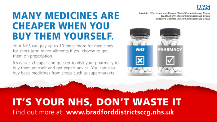 Many medicines are cheaper when you buy them yourself. Your NHS can pay up to 10 times more for medicines for short-term minor ailments if you choose to get them on prescription